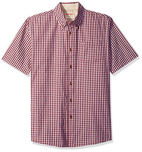 Wrangler Authentics Men's Short Sleeve Plaid Woven Shirt, Brick Red, XL