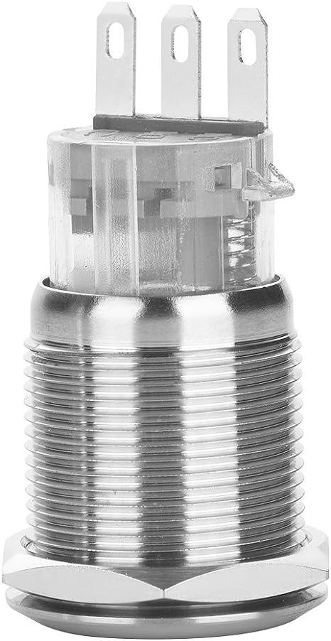 220V Bouton-poussoir en Acier Inoxydable Verrouillage Ronde de 3 Broches 19mm 5 Pcs//Paquet 2A