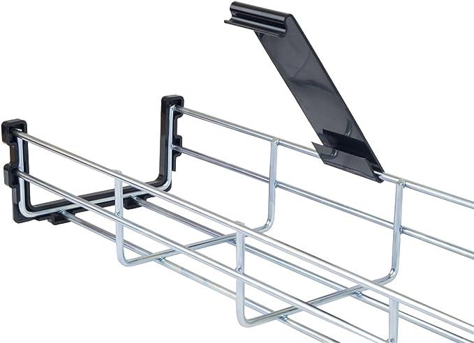 Cover /& End cap 3 Pack of 140cm Long Under Desk Basket Cable Tray Galvanized Steel Mesh Cord Management Rack w// Mounting Bracket Kabelkorb