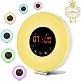 GLILIANG Wake Up Light Alarm Clock with Sunrise Sunset Simulation Touch Control, 7 Colors, 10 Brightness Level, FM Radio, 6 Natural Sound Snooze Function Night Light for Toddlers and Kids