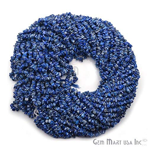 Natural Gemstone Chip Beads Free Form Shape, 1 Strand of 34 Choose Your Gemstone by GemmartUsa (Denim Lapis)