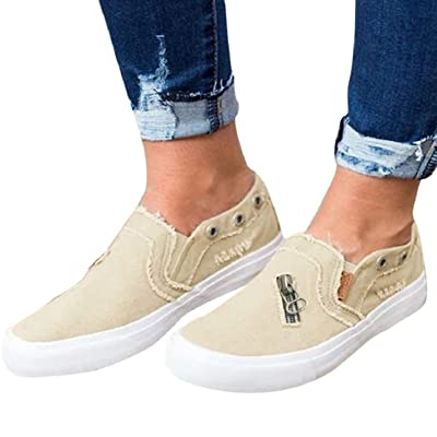 LowProfile Women's Casual Cloth Shoes Canvas Slip on Loafers Vintage Flat Boat Shoes with Zipper: Clothing
