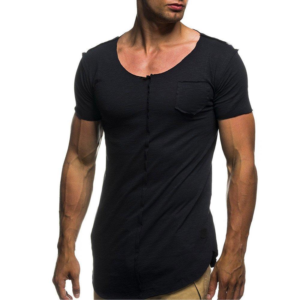 Homebaby Maglietta da Uomo Eleganti Vintage T-Shirt Top a Maniche Corte Sportivo Tinta Unita Fit Fitness Tops Casuale Palestra Estive Camicie Uomo Slim Fit