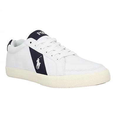 POLO Ralph Lauren - Baskets basses - Homme - Sneakers Hugh Canvas Blanc  Contraste Bleu Marine a0887abdfea