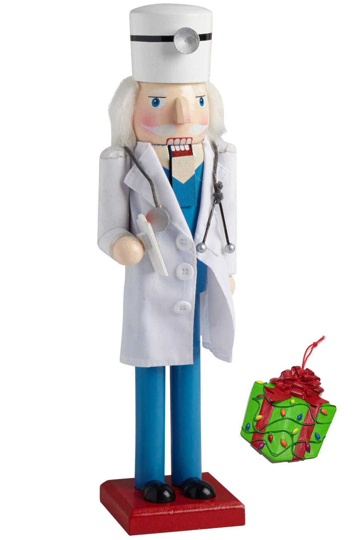 Distinctive Designs Medical Doctor Large Decorative Holiday Season Wooden Christmas Nutcracker & Bonus Tree Ornament