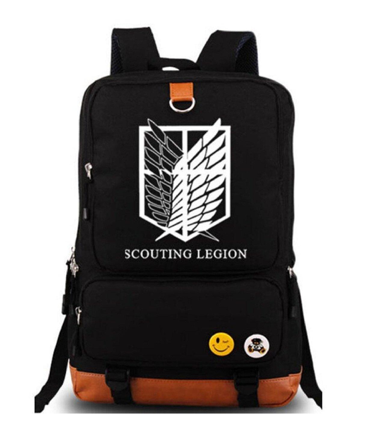 YOYOSHome Luminous Anime Attack on Titan Cosplay Laptop Bag Daypack Bookbag Backpack School Bag (Black)