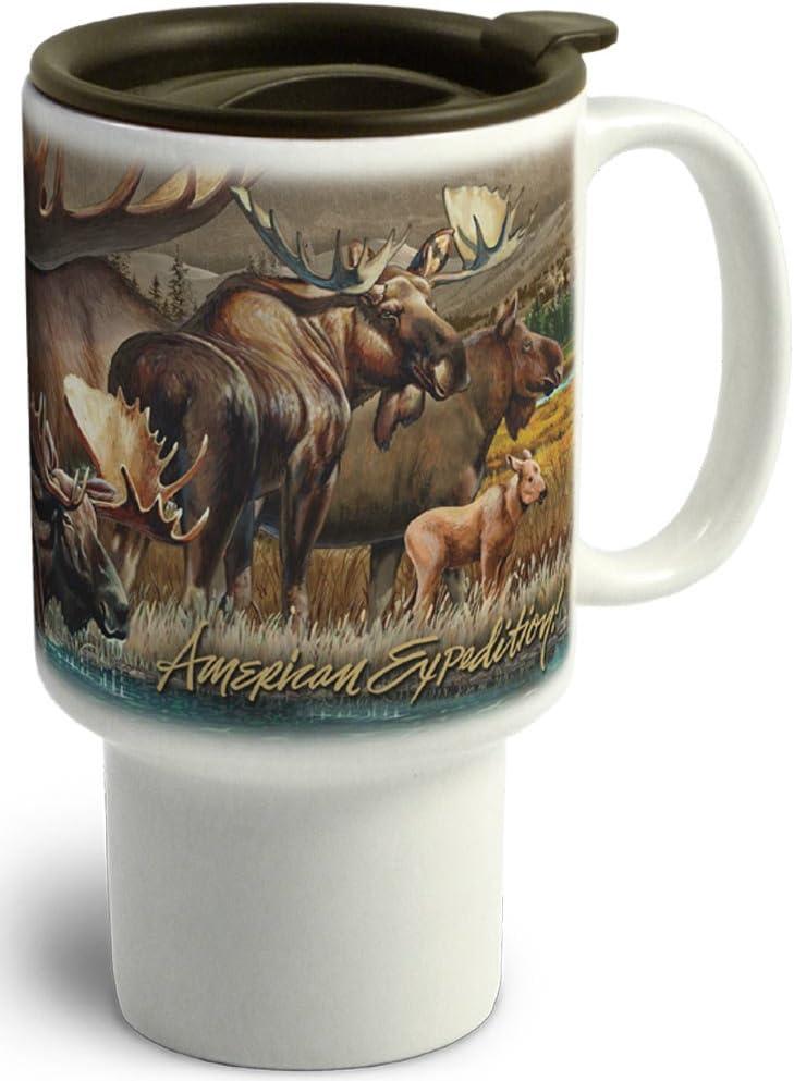 American Expedition CTMG-305 Stoneware Travel Mug, Moose Collage, Multi-Color
