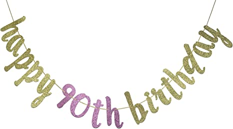 Happy 90th Birthday Banner Gold Glitter Party Bunting 90th Birthday Party Decorations Supplies