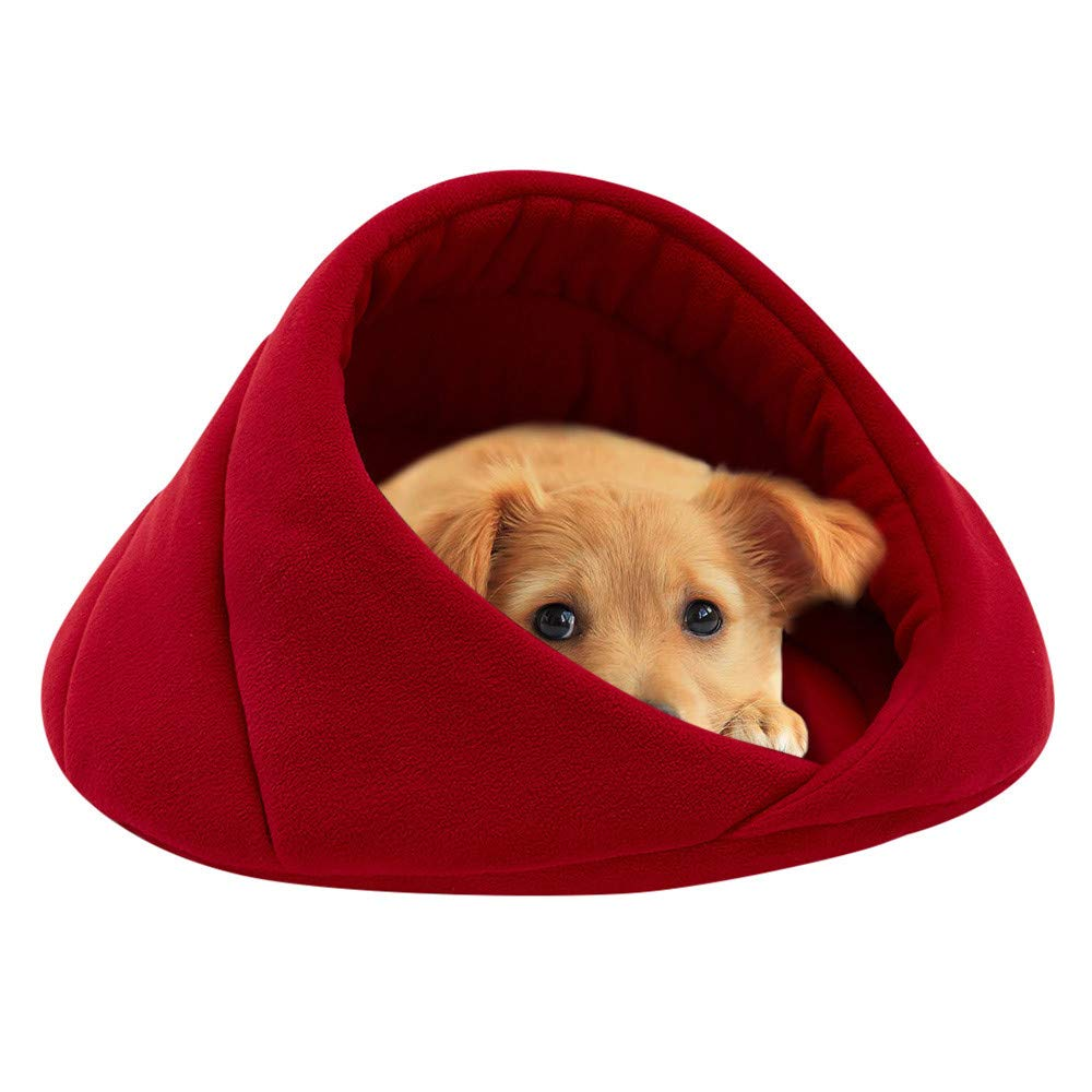 Glumes Cat Puppy Bed Pets Bed Triangle Burrow Soft Fleece Cat Sleeping Bed Cave for Cat Puppy Rabbit Small Dogs Animals