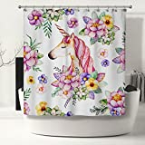 Pink Floral Unicorn Print Fabric Shower Curtain with 12 Chrome Stainless Steel Hooks, Bathroom Window Curtain, Waterproof Mildrew Resistant Repellent, Flower Sea and Dream 48, 71 W x 78 L