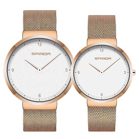 JUZIWEI Reloj, Relojes para Pareja, Relojes Casuales de Lujo clásicos de Acero Inoxidable Multifunciones