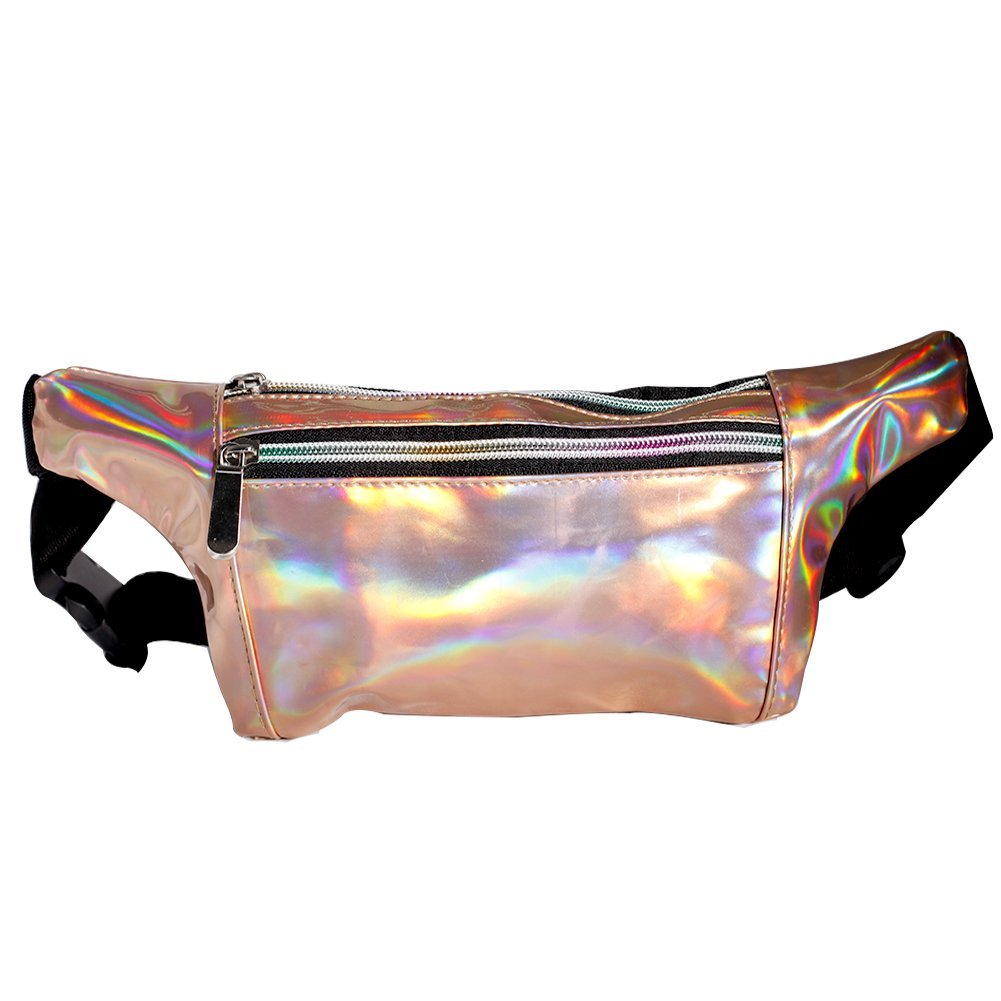 MUM'S MEMORY Metallic Hologram Fanny Pack for Women and Men- Sport Waist Pack for Running, Hiking, Traveling, Camping, Partying, Jogging (Rose Gold)