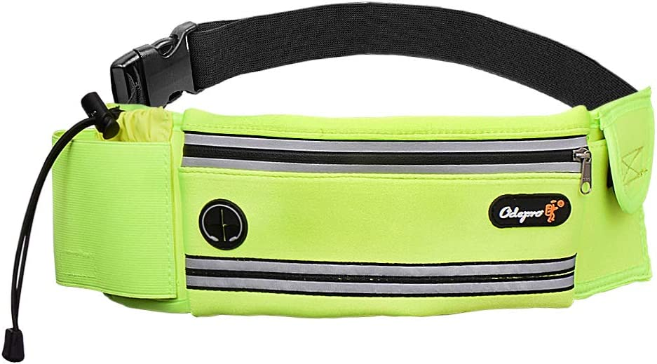 Earphone Hole for Outdoor Fitness Hiking Climbing Walking Odepro HS01 Running Belt Waist Pack with Water Bottle Holder Jogging Key Card Pocket Cycling Phone Pouch Adjustable Belt