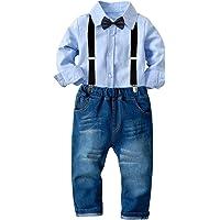 Tianhaik traje de traje de niños para niños 2 piezas traje de ocio de caballero niño camisa de manga larga top…