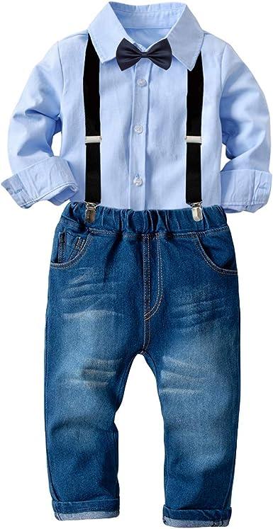 Tianhaik traje de traje de niños para niños 2 piezas traje de ocio de caballero niño camisa de manga larga top + pantalones de tirantes: Amazon.es: Ropa y accesorios