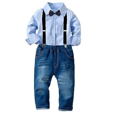 Tianhaik traje de traje de niños para niños 2 piezas traje de ocio ...