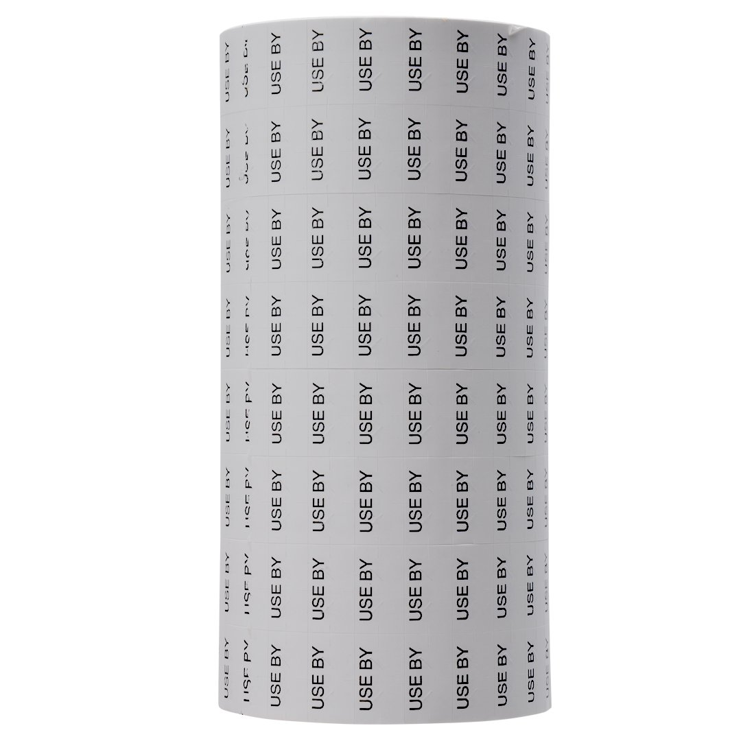 Black Print on White ''USE BY'' Pricing Labels to fit Monarch 1131 Pricers. 8 Rolls with 1 Free Ink Roller.