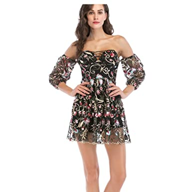 bb32521c8333 LINNUO Womens Floral Glam Party Dress Off Shouler Mini Club Pleated Mesh  Long Sleeve Backless Cocktail Club Dresses (Black,CN XL): Amazon.co.uk:  Clothing