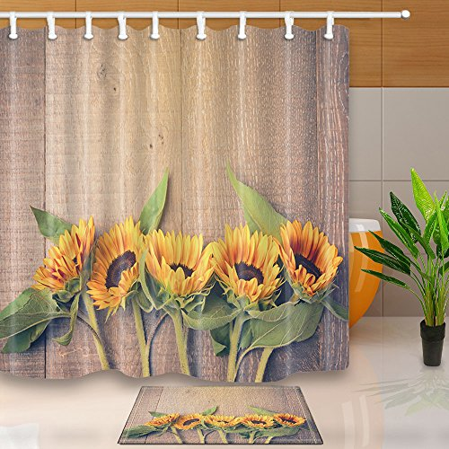 NYMB Flower Decor Sunflower on the Wood 69X70in Mildew Resistant Polyester Fabric Shower Curtain Suit With 40x60cm Flannel Non-Slip Floor Mat Bath Rugs (Muliti29)