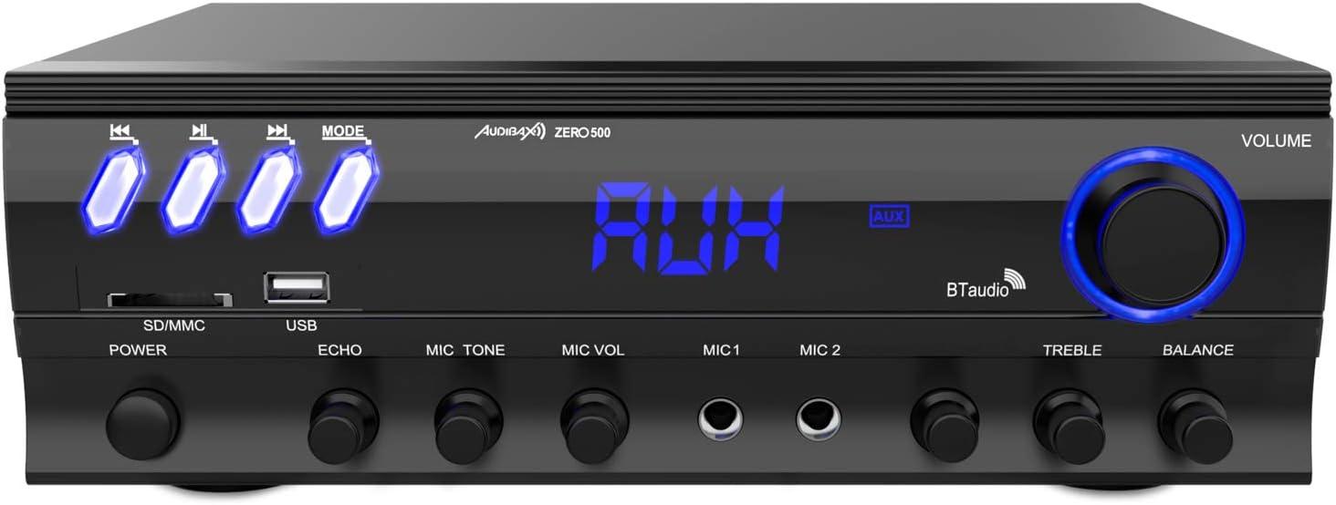 Audibax Zero 500 - Amplificador HiFi, Receptor Bluetooth Incorporado, Función Karaoke, Amplificador de Sonido con Excelente Calidad, Mando a Distancia, Entrada SD y USB, Control de Volumen y Eco