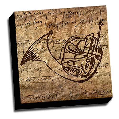 French Wall Horn - 12x12 French Horn & Sheet Music Stretched Onto 1.5