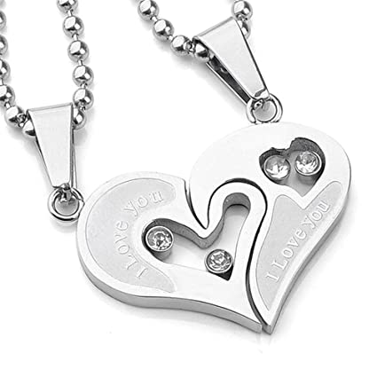 a76cfef599 Image Unavailable. Image not available for. Color: JewelBeauty Stainless  Steel Mens Womens Couple Necklace Friendship Puzzle CZ Love Matching Heart  Pendants ...