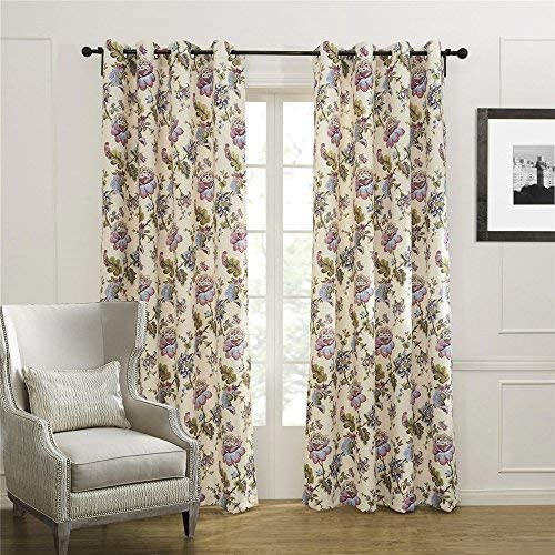 Royhom 50 W x 96 L 2 Panels Morden Beige Curtain Print Curtain Tree Rock Pattern Grommet Top Curtain