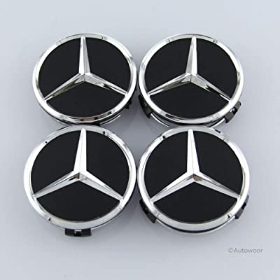 Autowoor Black Wheel Center Hub Caps Mercedes Benz,75mm/3 Inch Fit for Mercedes Benz All Models with (4 pcs): Automotive