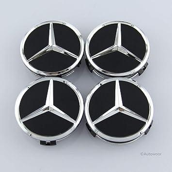 4pcs Mercedes Benz Alloy Wheel Centre Caps 75mm Badges SILVER AMG Hub Emblem