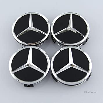 Autowoor Tapacubos centrales para Llantas de Mercedes Benz, 75 mm, Ajuste para Mercedes Benz