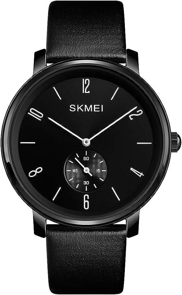 Sovoadur Men s Ultra-Thin Quartz Analog 3Bar Waterproof Wrist Watch with Black Leather Strap