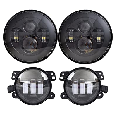 DOT Approved 7'' Black LED Headlights + 4 ''Cree LED Fog Lights Compatible