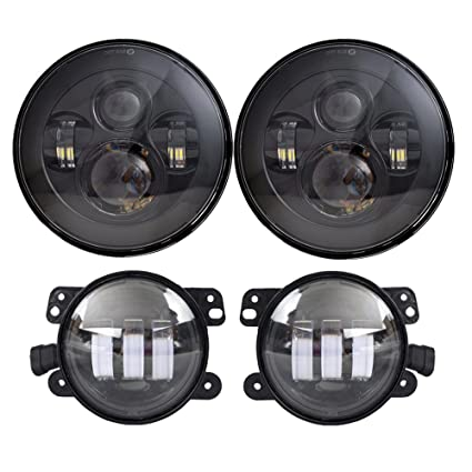 Jeep Jk Headlights >> Amazon Com Dot Approved 7 Black Led Headlights 4 Cree Led Fog