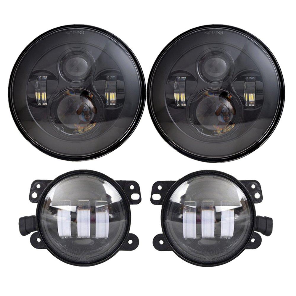 DOT Approved 7'' Black Daymaker LED Headlights + 4 ''Cree LED Fog Lights for Jeep Wrangler 97-2017 JK TJ LJ by LX-LIGHT