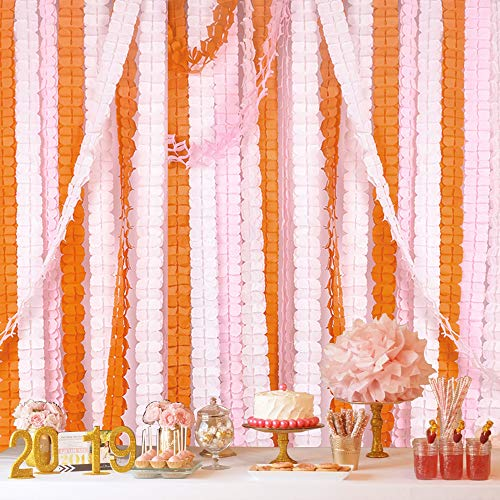 Reusable Party Streamers, MerryNine Four-Leaf Clover Paper Flower Garland for Party, Wedding Decoration, 11.81 Feet/3.6M Each, Pack of 6 (Pink-White-Orange)]()