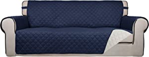 PureFit Reversible Quilted Sofa Cover, Water Resistant Slipcover Furniture Protector, Washable Couch Cover with Non Slip Foam and Elastic Straps for Kids, Dogs, Pets (Sofa, Navy/Ivory)