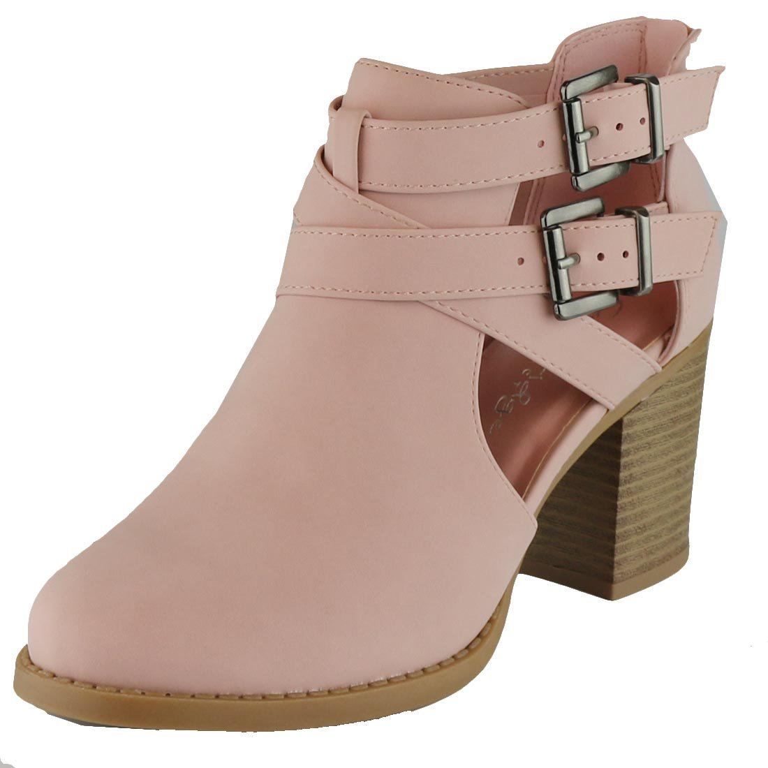 Cambridge Select Women's Side Cut Out Buckle Chunky Stacked Heel Ankle Bootie (8 B(M) US, Pink NBPU)