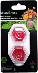 GREENSTRIKE 60002 - 2 Pack Prefilled Fruit Fly Trap, Clear, Small