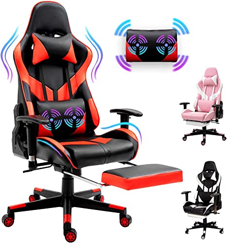 Sunseen Red Computer Gaming Chair Ergonomic Video Game Chair PU Leather Racing Chair High-Back Desk Office Chair Adjustable Swivel Chair