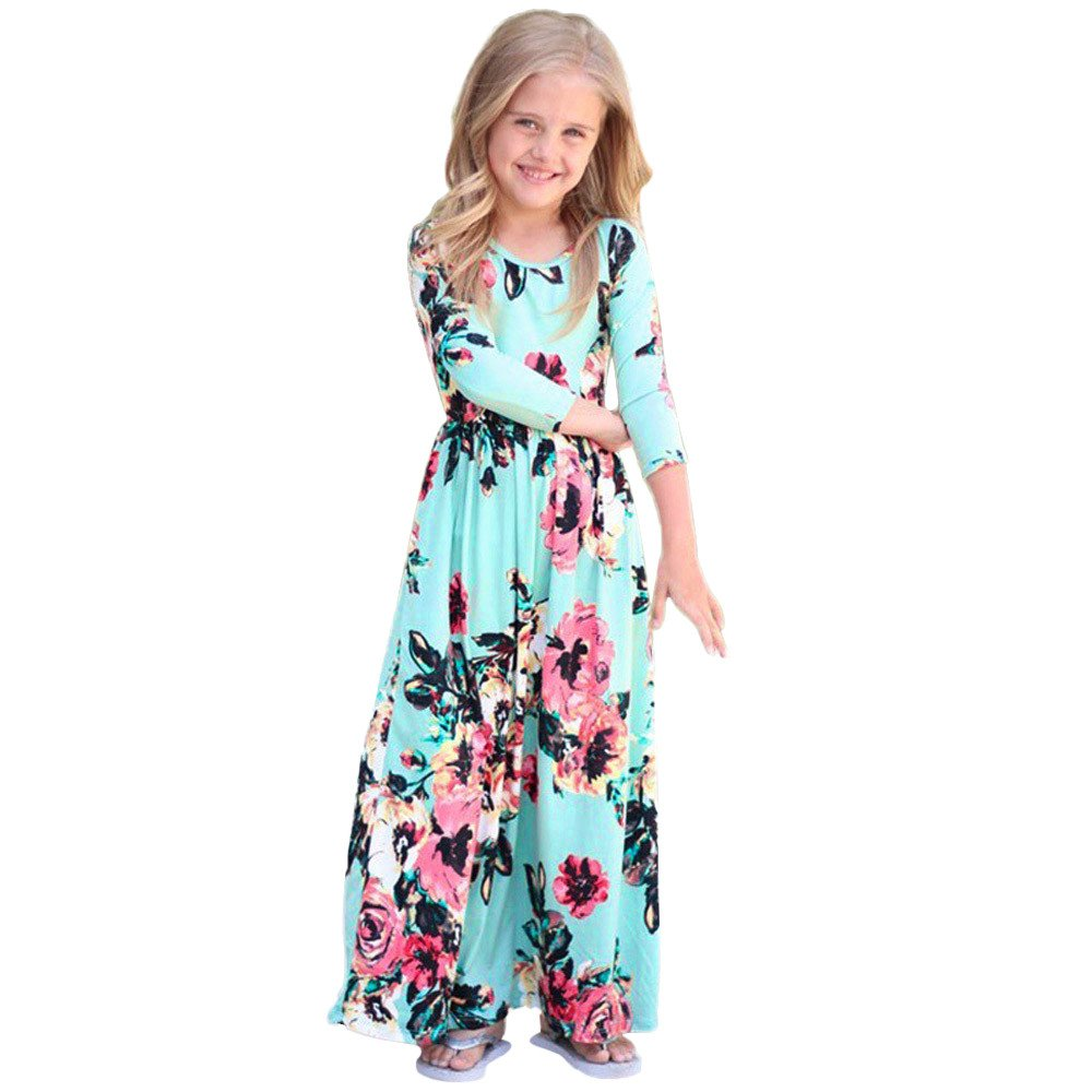 Girls Flower Print Dress 3/4 Sleeve Pleated Casual Swing Long Maxi Dress with Pockets Summer Spring Dresses 2-5Y (Blue, 5T (4-5 Years)) by Cealu (Image #1)