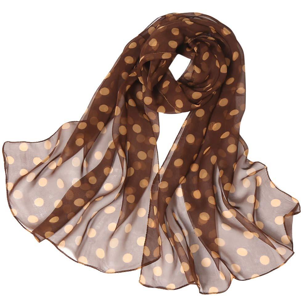 Wociaosmd Women's Dot Printing Soft Long Simulation Silk Scarves Shawl Wraps Fall Winter Scarf(Coffee,B)