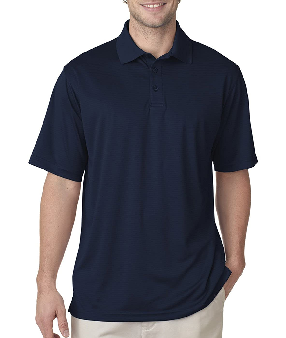 Ultraclub 8220 Mens Cool /& Dry Jacquard Stripe Polo