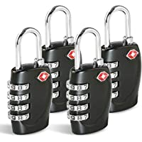TSA Approved Luggage Combination Locks, T Tersely (4 Pack) 4 Digit Combination Padlock with Alloy Body TSA Lock for…