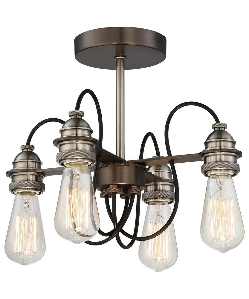 Minka Lavery Minka 4454-784 Restoration Four Light Semi Flush Mount from Uptown Edison Collection in Bronze/Darkfinish, 14.00 Inches 14.00 Inchesfour by Minka Lavery