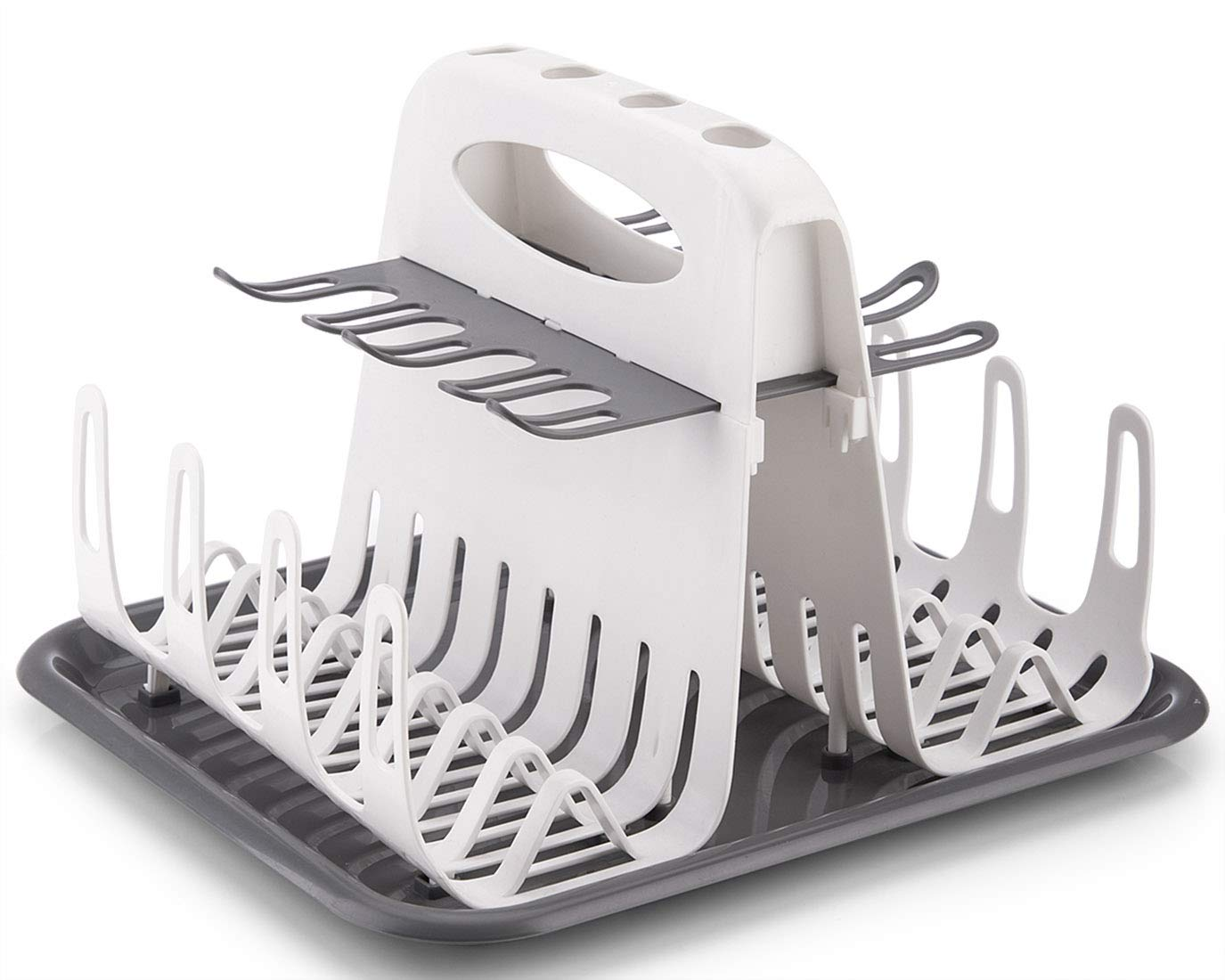 Folds Flat,White High Capacity Drying Rack with 6pcs Brushes,Deluxe Countertop Drying Rack,Universal Drying Station,Baby Bottle Drying Rack with Bottle Brushes,Cup and Bottle Drying Rack