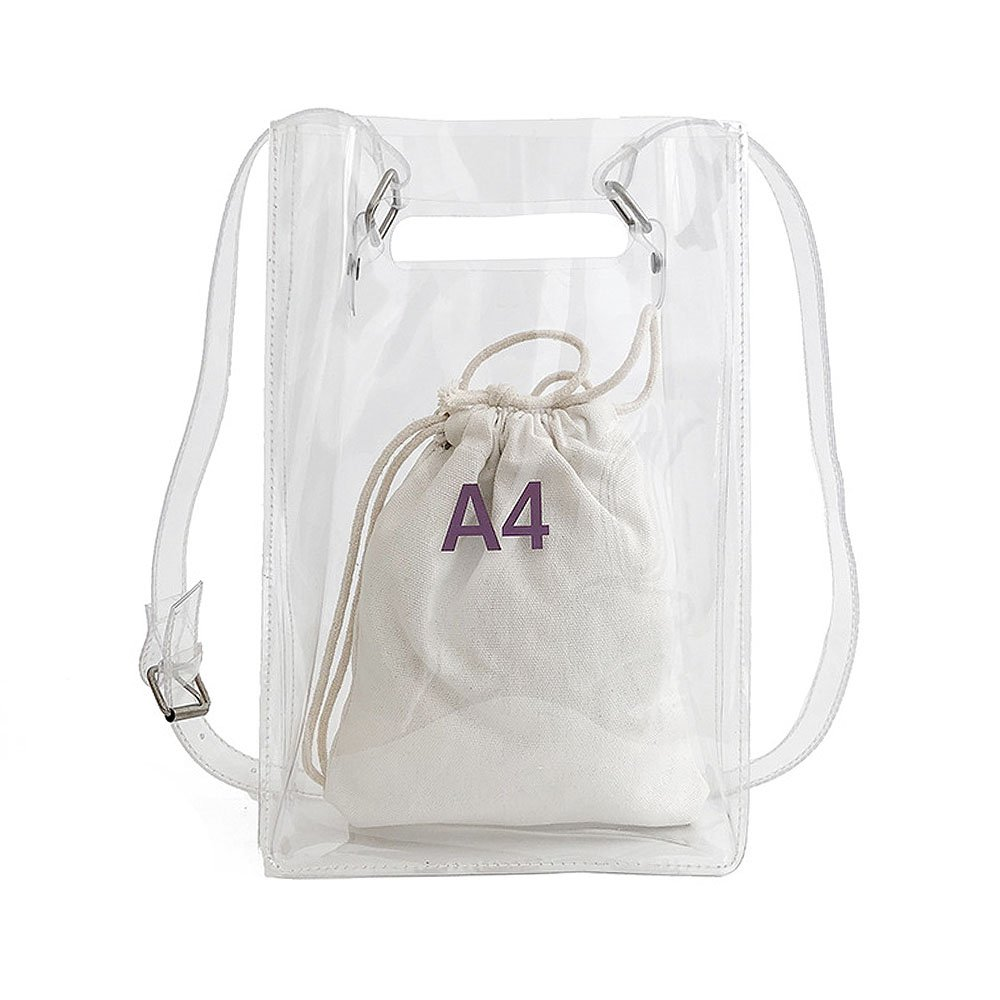 Clear Crossbody Messenger Shoulder Bag Purse for Women Handbag with Inner Bag Adjustable Strap, NFL Stadium Approved