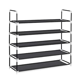 HERRON Shoe Rack 5 Tier, Durable and Stable Shoe Organizer 25 Pairs Space Saving Shoe Tower Non-Woven Fabric Shoe Shelf (Black)