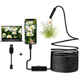 7mm USB Endoscope Inspection Camera 2.0 MP CMOS Snake Camera Borescope 2 in 1 Flexible HD Waterproof Tube Sink Drain Pipe Camera with 6 Led Light for PC/Laptop/Computer/OTG&UVC Android Phone-16.4ft/5M