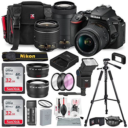 Nikon D5600 DSLR Camera with NIKKOR 18-55mm + 70-300mm Lenses W/2 x 32GB Memory Card + Digital Slave Flash + Filters, Telephoto & Wideangle Lens, Xpix Lens Accessories with Deluxe Bundle Review