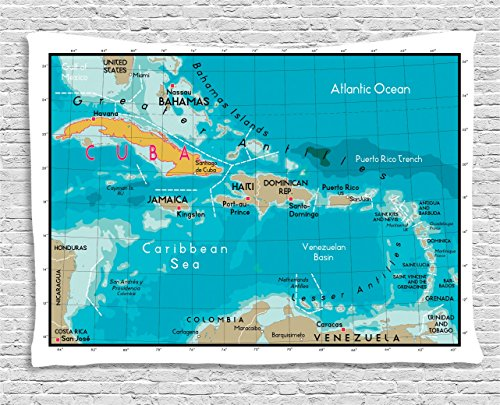 Ambesonne Wanderlust Decor Collection, Cuba Map And Caribbean Sea Ocean Geography Political Division Land Borders , Bedroom Living Room Dorm Wall Hanging Tapestry, 60W X 40L Inch -